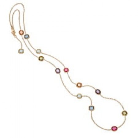 A stunning necklace made in 18ct gilded sterling silver with coloured Cubic Zirconia.