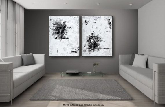 Conjunto de 2 Extra pintura abstracta grande negro blanco gris