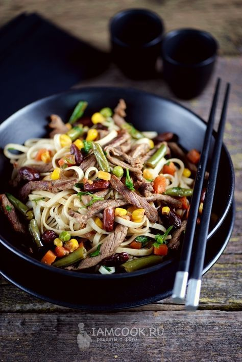 лапша удон с говядиной и овощами рецепт с фото