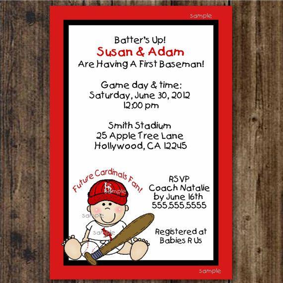 stlouis cardinals baseball baby shower invites