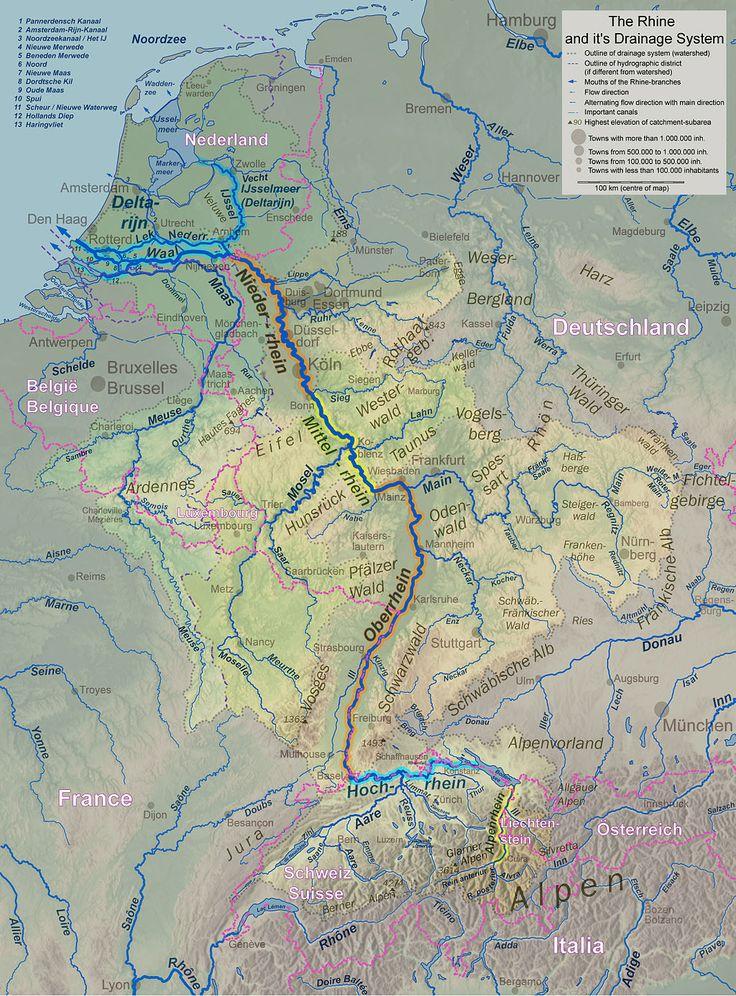 ライン川流域地図:Rheinsystem small internat - ライン川 - Wikipedia