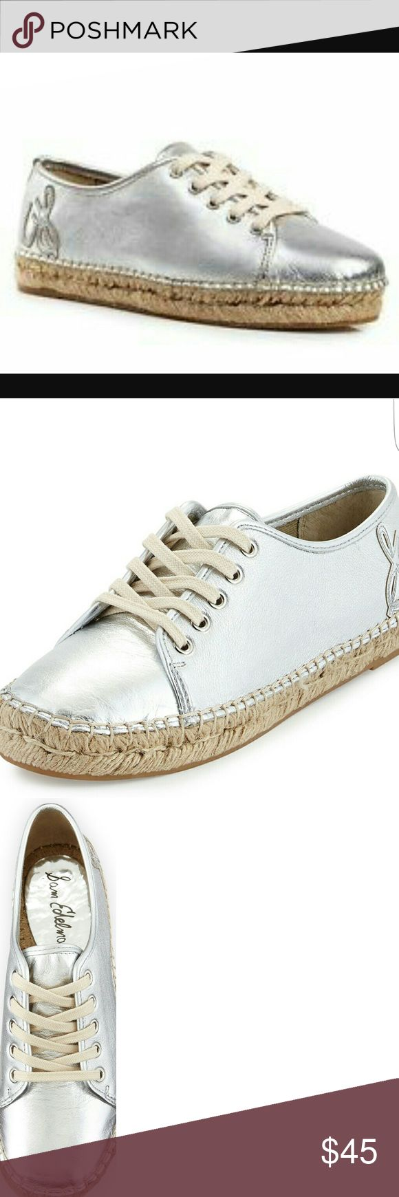 Sam Edelman Silver Espadrille Tennis Shoes Silver Espadrille Tennis Shoes with the rattan on the bottom and in the insides soles.   Super comfortable and easy to stay on feet since they are tied shut. Sam Edelman Shoes Espadrilles