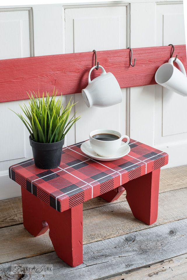 Red and black Buffalo Check & Plaid Shirt stencils on a wooden bench | Funky Junk's Old Sign Stencils | funkyjunkinteriors.net