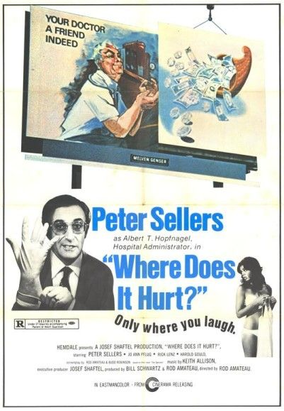 Where Does It Hurt [1972] Comedy - Peter Sellers, Jo Ann Pflug, Eve Bruce, Pat Morita, Ed Begley Jr., Uschi Digard - A corrupt hospital administrator decides to get as much money as possible from the patients by any means necessary - lie, cheat or steal.