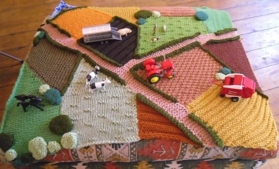 Hand Knitted Farm Rug toys not included by KnittingforEthel, £149.99