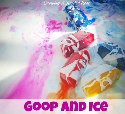 {Goop and Ice Sensory Play} Cool summer fun, pretty too! #WaterFun #CampSunnyPatch: Sensory Activities, Ice Cubes, Amazing Sensory, Amd Ice, Plays Ideas, Sensory Plays, Sensory Experiment, Jewels Rose, Ice Sensory