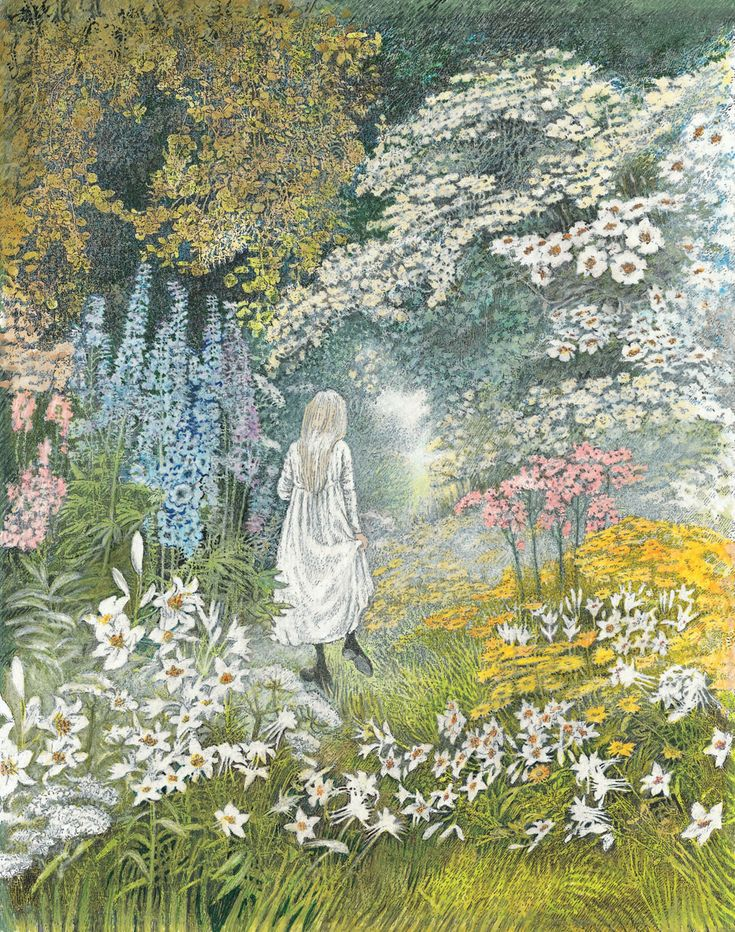 """""""Armies of Delphiniums and Colombines"""" by Inga Moore from """"The Secret Garden"""" by Frances Hodgson Burnett (Watercolour)"""