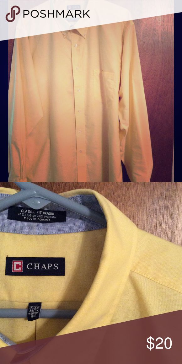Ralph Lauren Chaps shirt Yellow wrinkle-free yellow Oxford shirt.  Button-down collar.  Perfect condition, hardly worn. Chaps Shirts Dress Shirts