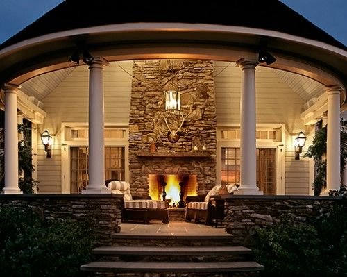 Covered porch and  outdoor fireplace