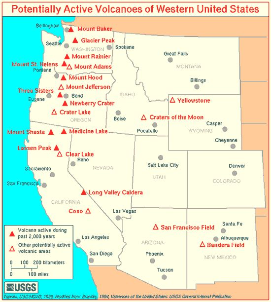 Volcano Locations In Western USA Art Pinterest Volcano - Cascade range on us map