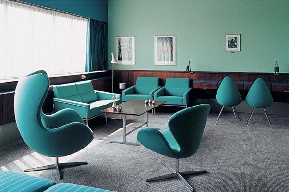 Arne Jacobsen Egg and Swan chairs in room 606 SAS Royal Hotel, Copenhagen, Denmark  From Shelterpop
