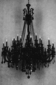 Black Chandelier! Hang this up in your bedroom, hallway or living room for some dark chic.