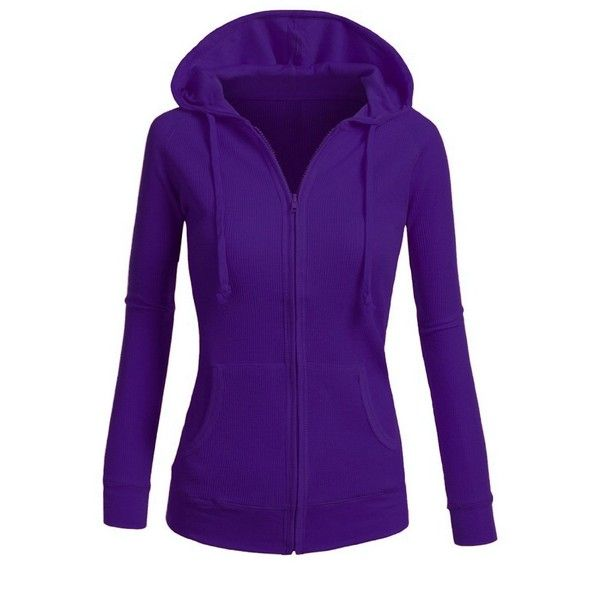 TL Women's Basic Solid Warm Knitted Casual Zip-Up Hoodie Jackets in... ($12) ❤ liked on Polyvore featuring tops, hoodies, purple zip up hoodie, zip up hoodie, zip up hoodies, hoodie top and hooded pullover