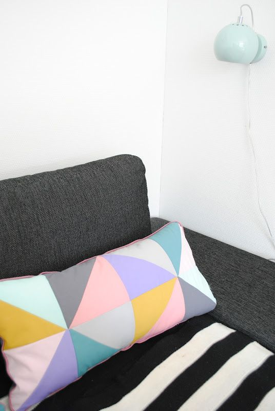 Some lovely sherbet colors against black and gray.: Pillows Projects, Crafts Ideas, Houses Textiles, Crafty Things, Graphics, Girls Ideas, Cushions Clash, Diy, Colors Inspiration