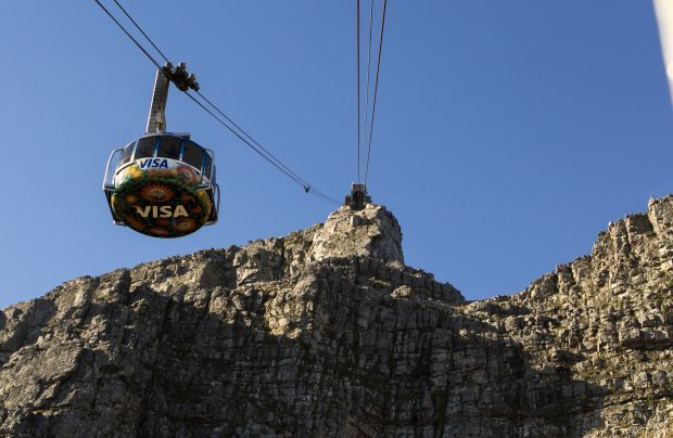 The cableway going to the top of Table Mountain, Cape Town