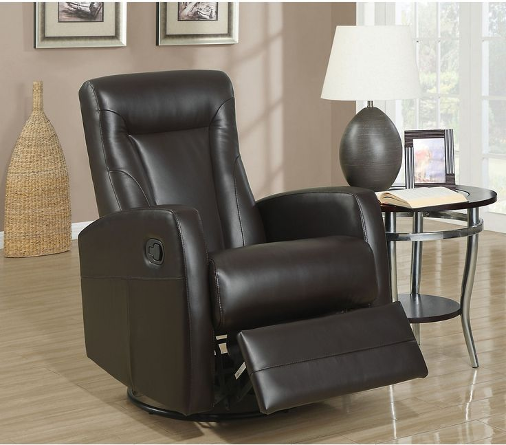 Molly Bonded Leather Swivel Recliner - Brown | Bonded leather ...