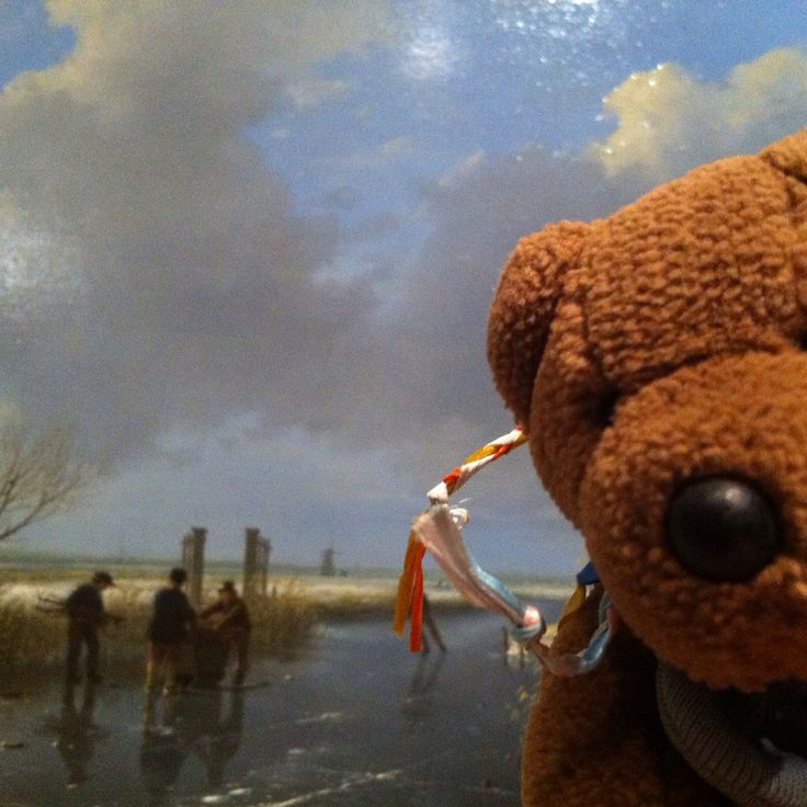 Friedeltje visiting the exhibition 'real winters - 19th century Dutch winter landscapes at Teylers Museum in Haarlem. He poses in front of one of his favourite paintings by Andreas Schelfhout (1826).