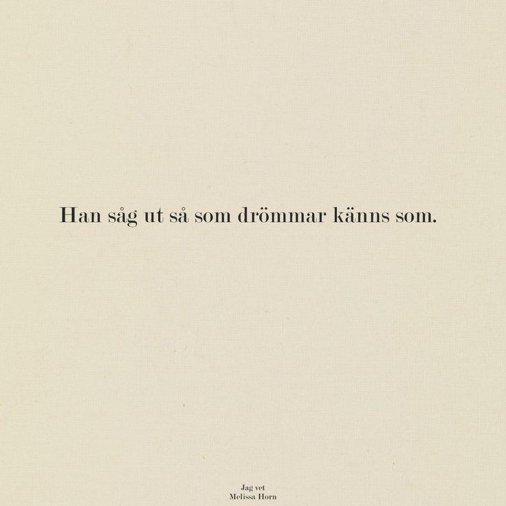 "Swedish- ""He looked like dreams feels like"""