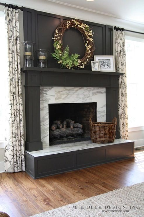 Suzie: M. E. Beck Design - Gorgeous charcoal gray painted fireplace with calcutta gold marble ...