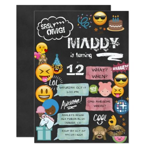 Emoji Text Message Birthday Invitation