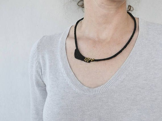 Black necklace elegant black crochet necklace textile