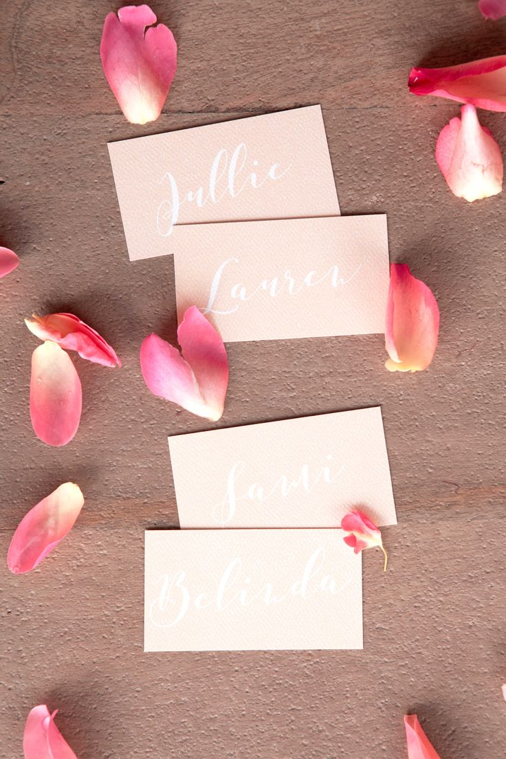 Bridal shower / party / hens / baby girl party peach place cards, table decor designed by @bellelovespaper