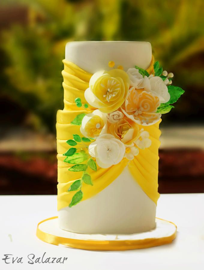 Lemon Yellow Wed Cake!! by Makememycake - http://cakesdecor.com/cakes/216788-lemon-yellow-wed-cake