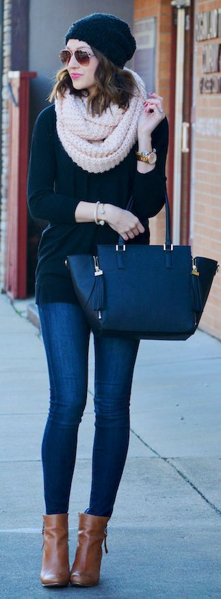 infinity scarf, black sweater, skinny jeans, black beanie and booties