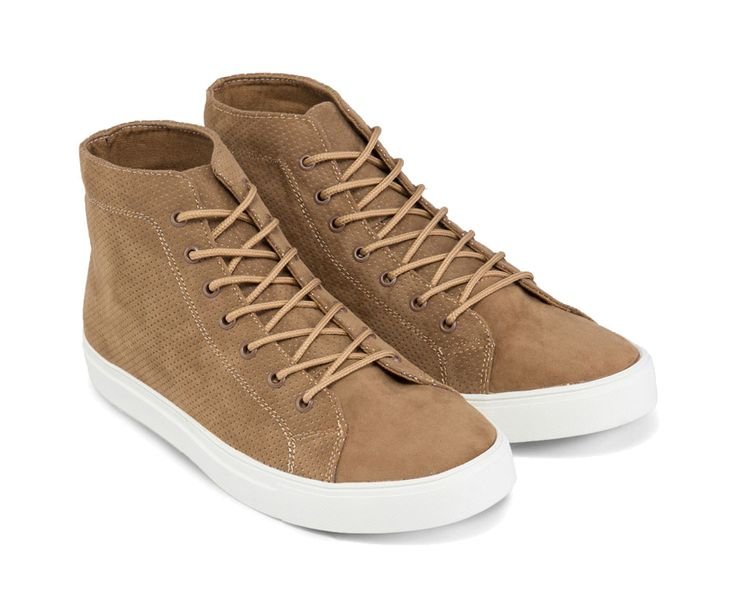 Perforated Faux Suede High Top Sneakers. Perforated PU Suede High Top Sneakers by Zalora. Brown sneakers with perforated faux suede upper, rubber sole, stitching details, tan color,trendy sneakers with brown lace up, great shoes for everyday use.   http://www.zocko.com/z/JI1IS