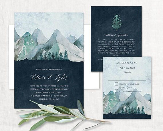 Mountain Wedding Invitation Printable Forest Wedding Invitations Woodsy Wedding Invites Nature Invite Sets Woodland Wedding Template Kit