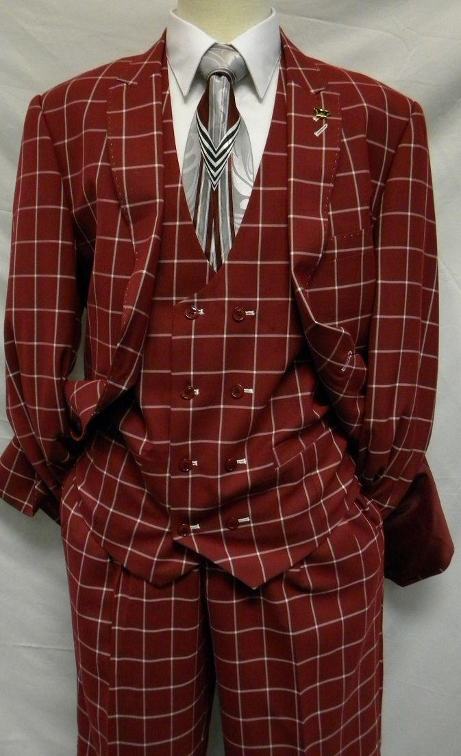 EJ Samuel Wine Square Pattern 1920s Fashion Suit M2644 ...