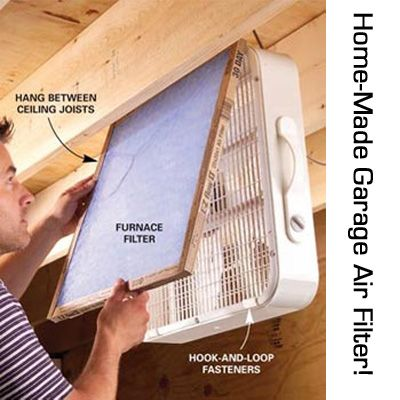 Weekend Warriors: This one is for you! Keep the air in your attic, garage, or tool shed clean and healthy! Spend a few bucks on an air-filter to zip-tie to a box-fan!