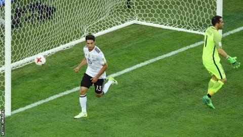 World champions Germany secured a first Confederations Cup title after victory against Copa America winners Chile in Sunday's final in St Petersburg.  Lars Stindl hit the first-half winner following a mistake by Marcelo Diaz. Chile's Arturo Vidal and Angelo Sagal both blazed over the bar in the closing stages. Germany's Timo Werner was elbowed by Gonzalo Jara who escaped with a yellow card despite the use of the video assistant referee (VAR). Earlier Adrien Silva scored an extra-time penalty…