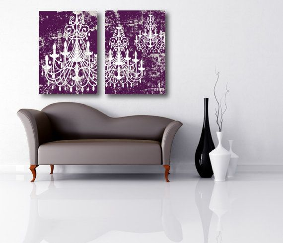 Chandelier Art in Plum and Light Taupe Color by SOLartDesigns, $140.00