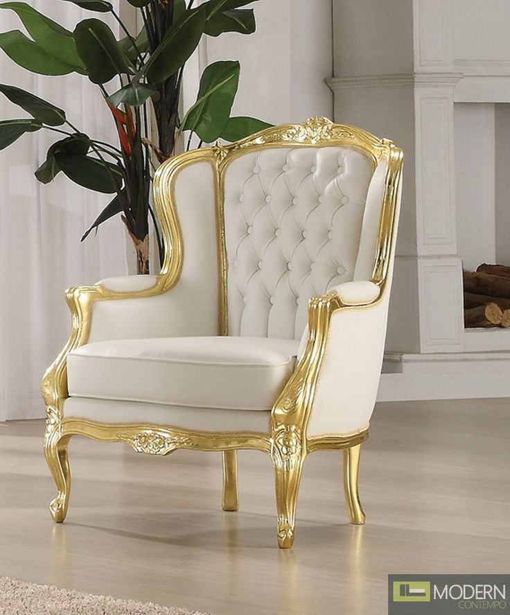 Gold White Venice Victorian French Style Accent Wing Arm