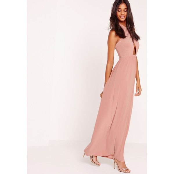 Missguided Cross Halter Neck Slinky Maxi Dress Pink ($32