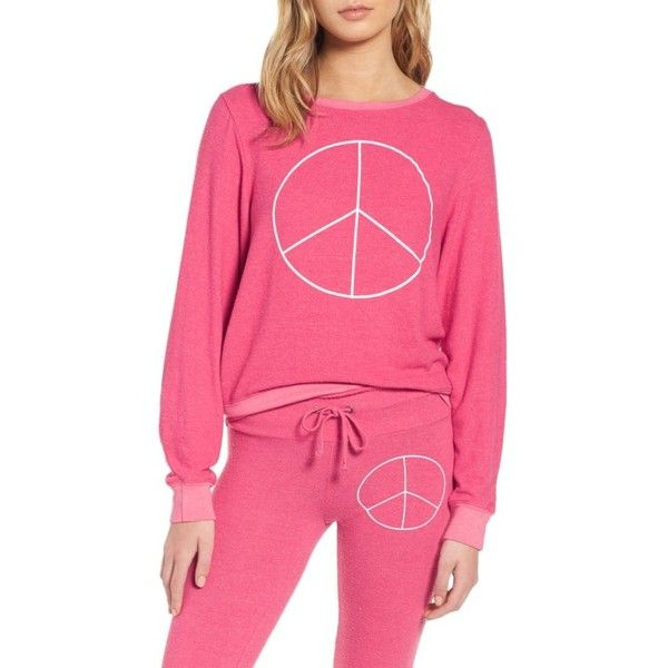 Women's Dream Scene Peace Sweatshirt ($64) ❤ liked on Polyvore featuring tops, hoodies, sweatshirts, neon pink, pink top, slouchy tops, slouchy sweatshirt, slouchy oversized sweatshirt and peace sweatshirt