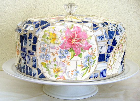 Vintage broken dishes mosaic cake cover with tray, vintage flow blue and floral bouquets