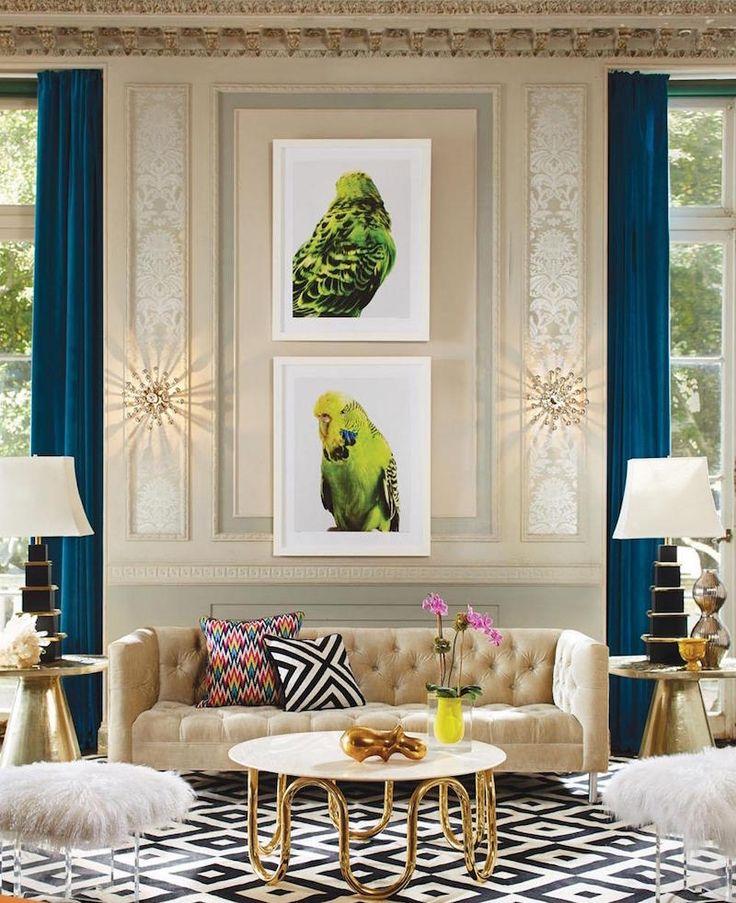 table basse ronde en mtal dor plateau blanc dans le salon de luxe - Model Ede Salon Moderne Blanc