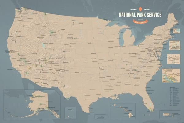 National Park Service Centennial Map Poster - Tan & Slate Blue