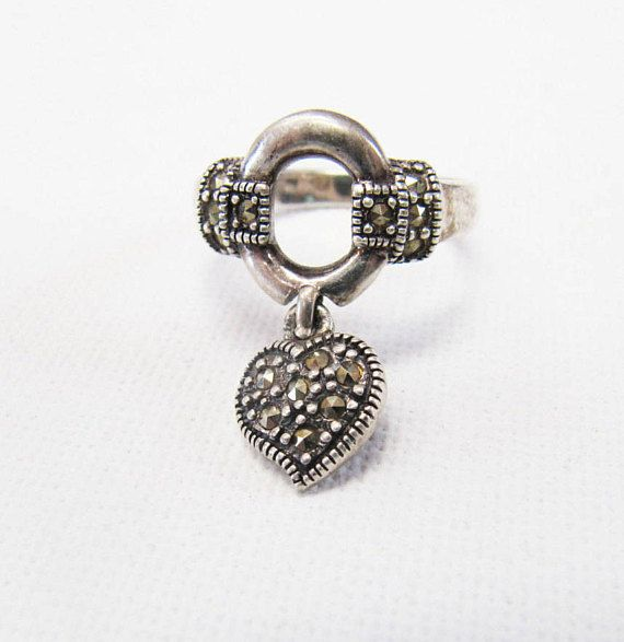 Vintage Sterling Silver Marcasite Heart Ring Silver Heart Tag