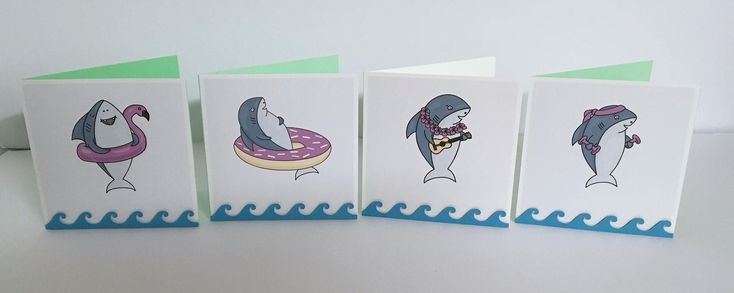 Happy Shark Blank Card , Swimming , Waves , Selfie , Workout , Surfer , Kids , Adults , All Occasions by PatchyPeanut on Etsy #surfingworkout