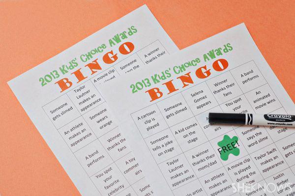 Bingo cards for the Kids Choice Awards