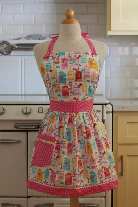 Apron Retro Style Colorful Bird Cages CHLOE Full Apron by Boojiboo