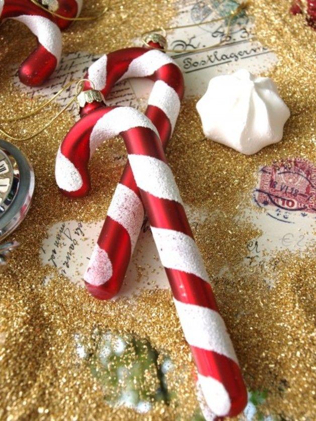 Zuckerstangen als Dekoration für den Weihnachtsbaum, süße Feiertage / candy canes for christmas tree, decoration by zauberdeko via DaWanda.com