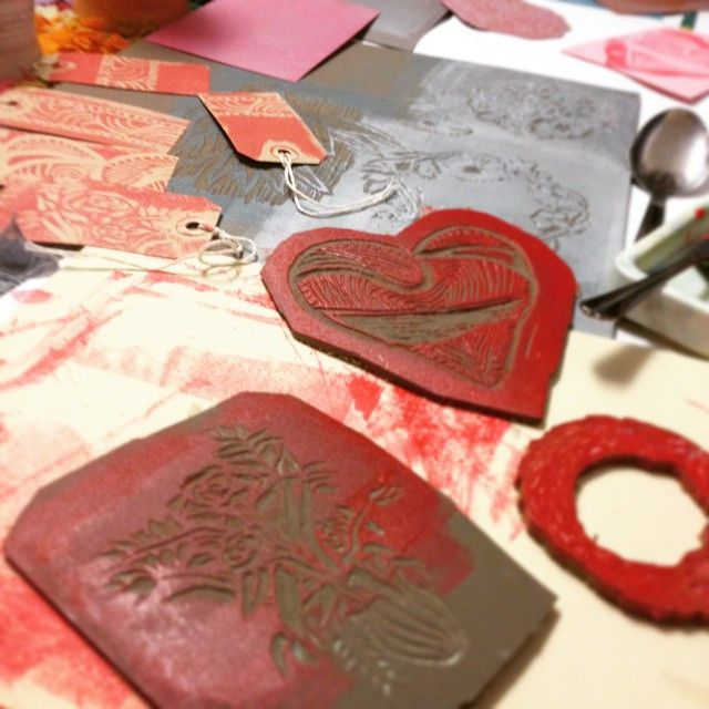 FabiaPrints  Valentines Lino-cut card range #Lino #Prints #Cards #Tags #Flowers…
