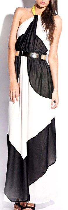 Lumier contrast neckline maxi dress in a halter style with black, white and neon $139. Perfect for the races or a special event. Shop it now at www.threadsandstyle.com.au.