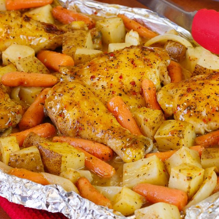 How do we do chicken? Coated in zesty, garlic-herb Italian Marinade, roasted and served with a heaping pile of veggies. That's dinner done right - and ready in under an hour. To cut down on clean up, coat chicken and vegetables with marinade directly in the baking pan.
