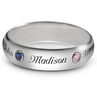 Personalized Sterling Silver 5mm Family Birthstone Rings With Free Keepsake Box, Add Your Message