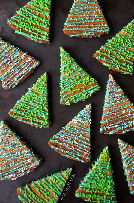 Christmas Tree Shortbread Cookies:  drizzled and sprinkled